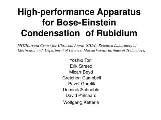 High-performance Apparatus for Bose-Einstein Condensation  of Rubidium
