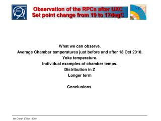 Observation of the RPCs after UXC Set point change from 19 to 17degC