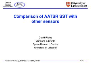 Comparison of AATSR SST with other sensors