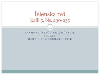 Íslenska tvö Kafli 5, bls. 230-235