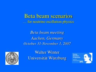 Beta beam scenarios … for neutrino oscillation physics