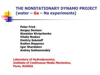 THE NONSTATIONARY DYNAMO PROJECT (water –  Ga  – Na experiments)