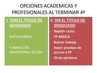 OPCIONES ACADEMICAS Y PROFESIONALES AL TERMINAR 4º