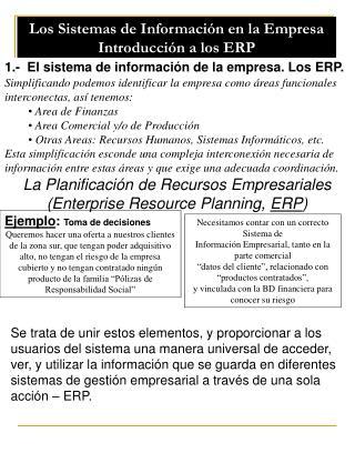 Los Sistemas de Informaci n en la Empresa Introducci n a los ERP