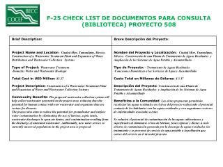 F-25 CHECK LIST DE DOCUMENTOS PARA CONSULTA  (BIBLIOTECA) PROYECTO  508