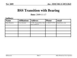 BSS Transition with Bearing