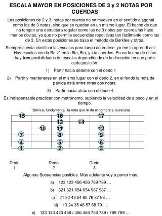 ESCALA MAYOR EN POSICIONES DE 3 y 2 NOTAS POR CUERDAS