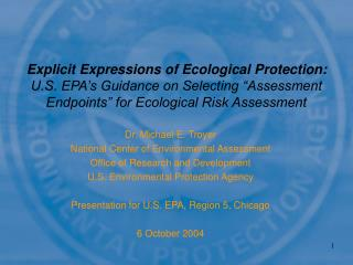 Dr. Michael E. Troyer National Center of Environmental Assessment