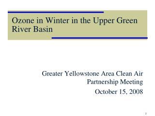 Ozone in Winter in the Upper Green River Basin