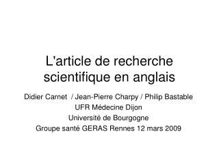 L'article de recherche scientifique en anglais