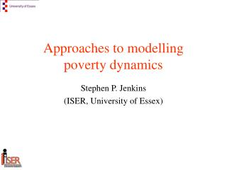 Approaches to modelling  poverty dynamics