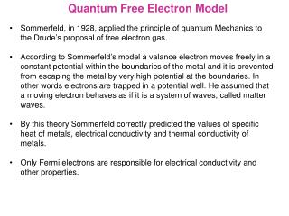 Quantum Free Electron Model
