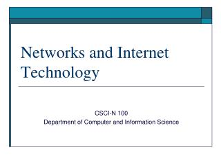 Networks and Internet Technology