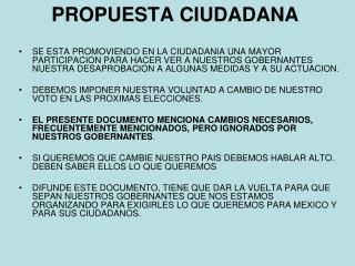 PROPUESTA CIUDADANA