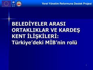 BELEDİYELER ARASI ORTAKLIKLAR VE KARDEŞ KENT İLİŞKİLERİ :  Türkiye'deki MİB'nin rolü