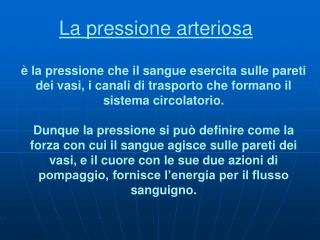 La pressione arteriosa