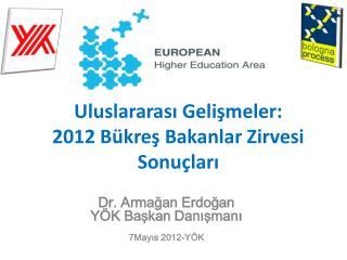 Uluslararası Gelişmeler:  2012 Bükreş Bakanlar Zirvesi Sonuçları