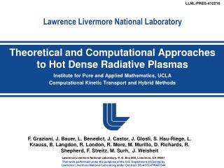 Lawrence Livermore National Laboratory, P. O. Box 808, Livermore, CA 94551