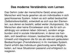 Das moderne Verständnis vom Lernen
