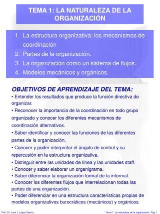 TEMA 1: LA NATURALEZA DE LA ORGANIZACIÓN