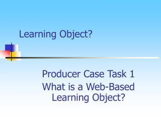 Learning Object?