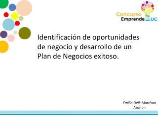 Identificación de oportunidades de negocio y desarrollo de un Plan de Negocios exitoso.