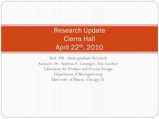 Research Update Cierra Hall April 22 th , 2010