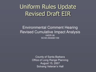 Uniform Rules Update Revised Draft EIR