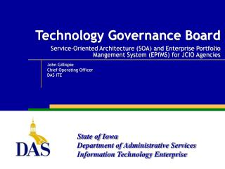 Technology Governance Board  Service-Oriented Architecture SOA and Enterprise Portfolio Mangement System EPfMS for JCIO