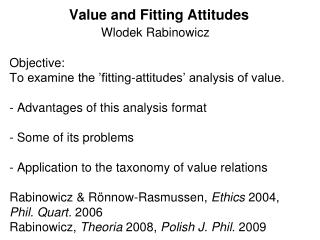 Lecture01 Value and Fitting attitudes