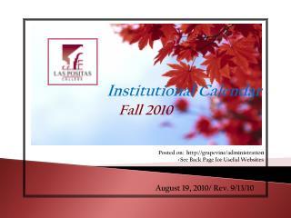 Institutional Calendar   Fall 2010 >