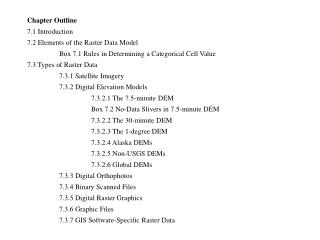 Chapter Outline  7.1 Introduction 7.2 Elements of the Raster Data Model