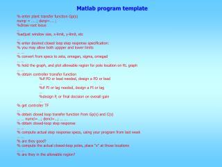 Matlab program template