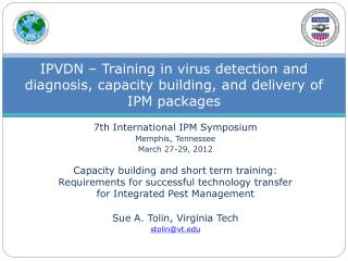 IPVDN – Training in virus detection and diagnosis, capacity building, and delivery of IPM packages
