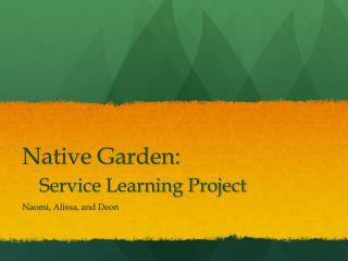 Native Garden: Service Learning Project