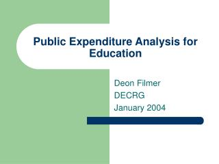 Public Expenditure Analysis for Education