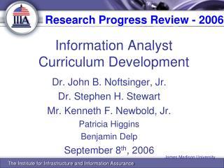 Information Analyst Curriculum Development