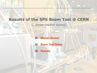 Results of the SPS Beam Test @ CERN C. Irmler (HEPHY Vienna)