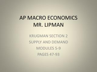 AP MACRO ECONOMICS MR. LIPMAN