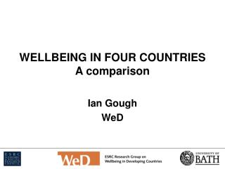 WELLBEING IN FOUR COUNTRIES A comparison