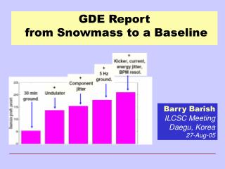 GDE Report   from Snowmass to a Baseline