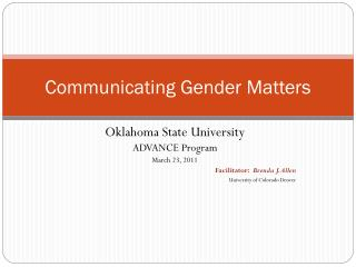 Communicating Gender Matters