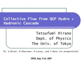 Collective Flow from QGP Hydro + Hadronic Cascade