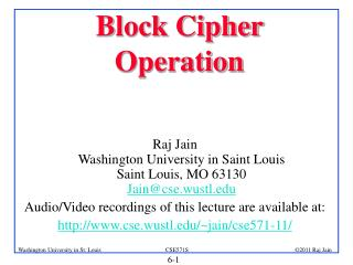 Block Cipher Operation