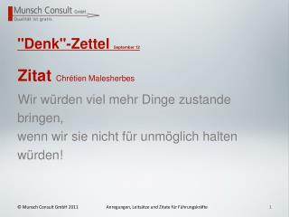 """""""Denk""""-Zettel  September 12"""