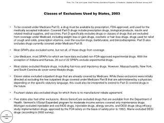 Classes of Exclusions Used by States, 2003