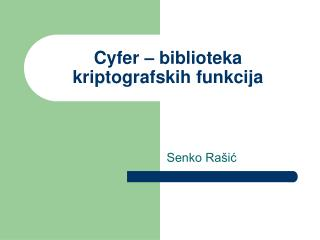 Cyfer – biblioteka kriptografskih funkcija