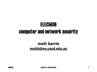 ELEC5616 computer and network security