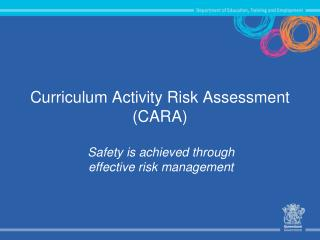 Curriculum Activity Risk Assessment (CARA)