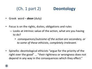 (Ch. 1 part 2) Deontology
